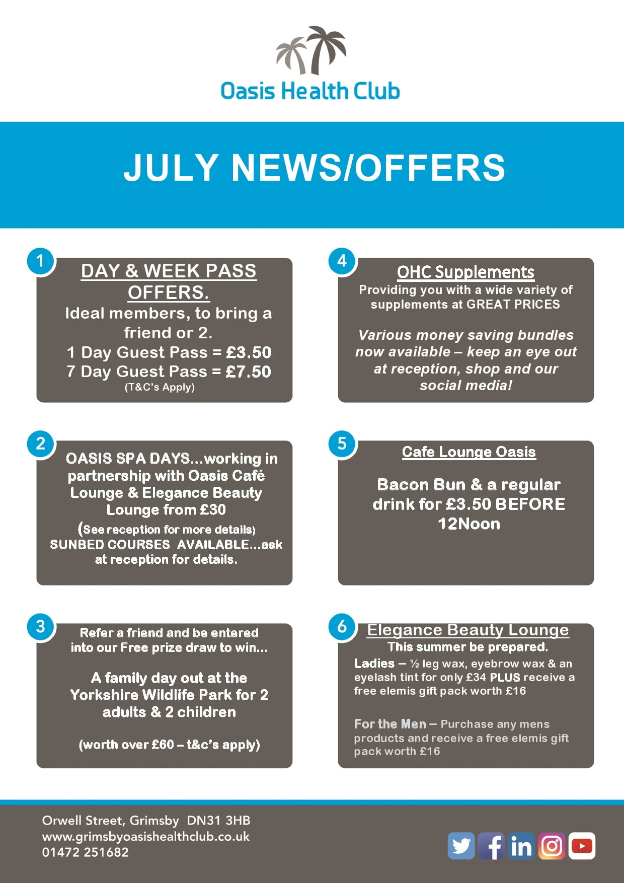 JULY 18 offers + news – Oasis Health Club Grimsby